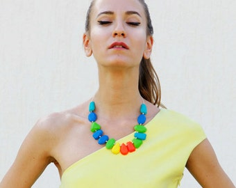 Multicolor Statement Necklace, Polymer Clay Necklace in Blue Green Neon Orange Yellow, Gem Candy Collection