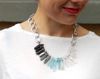 Crystal Quartz Statement Necklace, Chunky Crystal Necklace, Silver Chain Stone Necklace