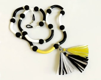 Black and White Beaded Necklace, Tassel Statement Necklace, Polymer Clay necklace, Trending Summer Necklace