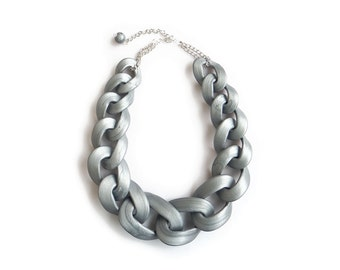 Silver Chain Link Necklace, Chunky Chain Link Necklace, Polymer Clay Statement Jewelry