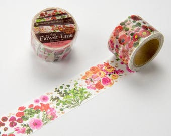 Red Pink flower Yano design washi tape 30mm x 7M