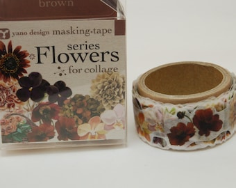 Flowers series Brown Yano design washi tape 20mm x 5M