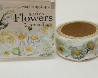 Flowers series White Yano design washi tape 20mm x 5M