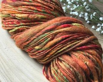 2,6 oz -  76 g  Fiber Art Yarn, spinning fiber Merino & Silk Tapestry Fall Fine Wool Spinning Chunky art yarn bulky knit handspun thick slub