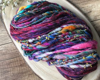 4 oz -  115 g  Fiber Art Yarn, spinning fiber Merino & Silk Tapestry Fine Wool Spinning Chunky art yarn bulky knit handspun thick slub