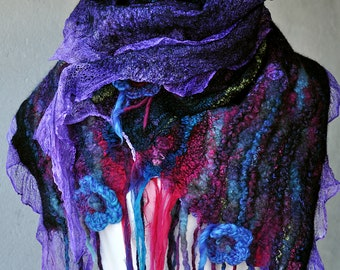 Hand felted Nuno Scarf --- Merino wool and pure silk --- Hhandmade Art --- black pink purple violet Felt Shawl Scarf -- OOAK - turquoise