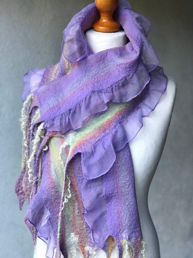 NUNO Felt Handmade Felted Scarf Merino Wool and Gray Silk Leaf Design