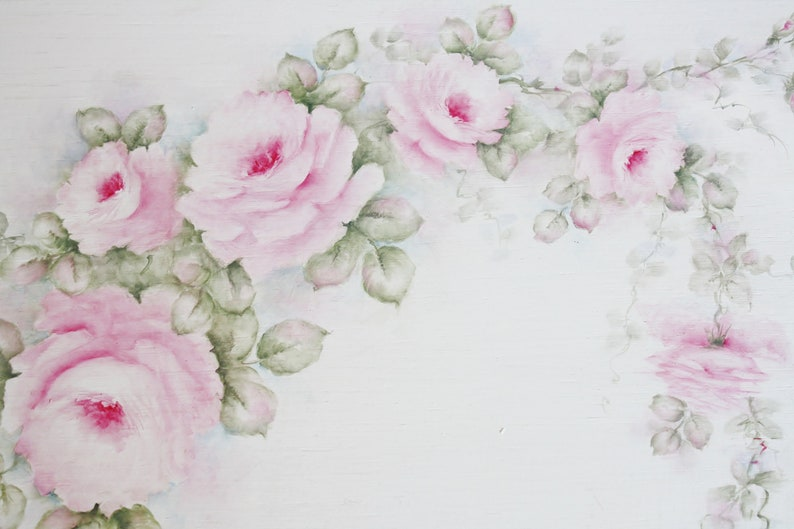Victorian Handpainted Breakfast Tray with Pink Roses image 0