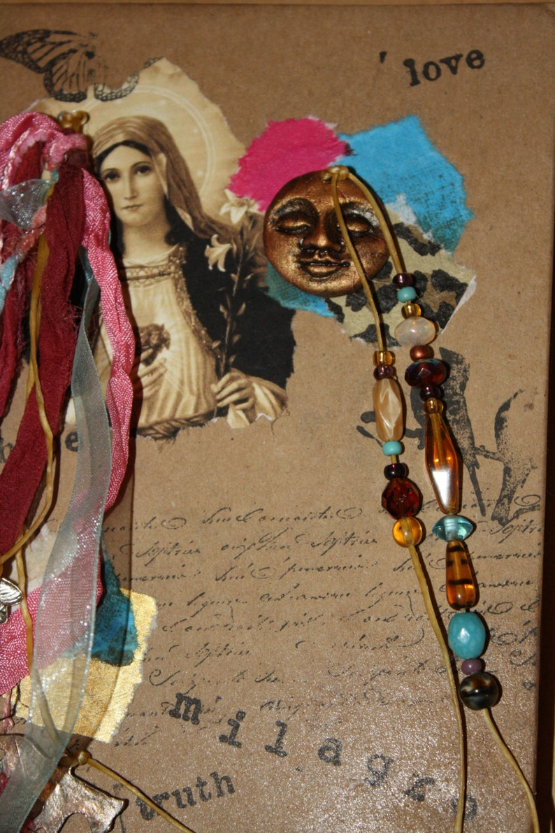 Sale/Altered Collage Journal handmade clay face gold leaf image 0