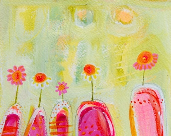 Dance in the Light abstract flower painting by Laura Gaffke