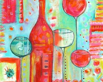 Cheerful WINE print titled, Happy Hour