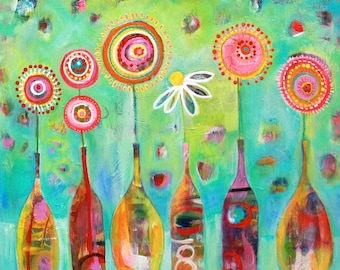 In Good Spirits Original Acrylic Wine and Flower Painting