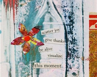Wine Bottle & Flower Collage Print titled VISUALIZE THIS MOMENT