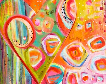 Colorful Heart & LOVE Abstract Fine Art Print
