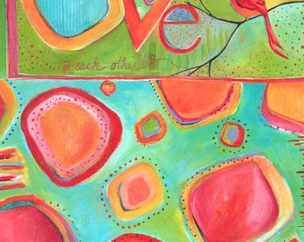 LOVE bird Contemporary ORIGINAL Painting titled LOVE Each Other