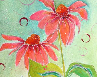 Pink Flower Painting titled Lean in