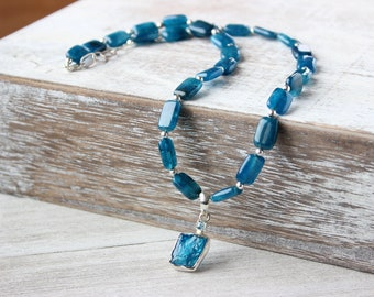 Blue Apatite Necklace, Sterling Silver