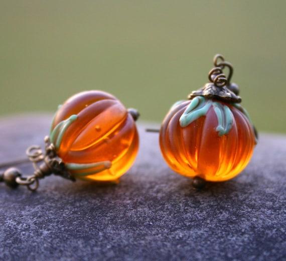 Autumn,Thanksgiving Halloween autumnal Pumpkin Drop Dangle Earrings Fall