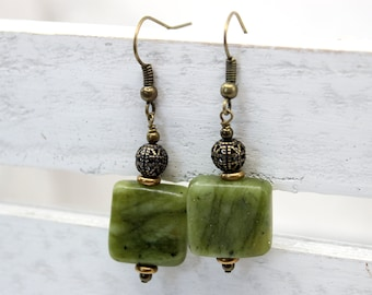 HOLD for Susan - Olive Earrings