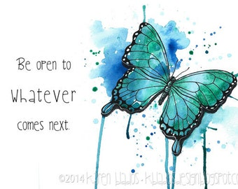 Blue Butterfly Watercolor Print – 7x5 inches