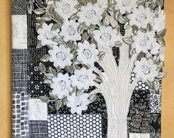 ORIGINAL Art Quilt Canvas -11 x 14 Black White Silver Tree with Crochet Flowers