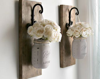 Rustic Wall Sconces-Rustic Wall Decor-Mason Jars Sconce-Farmhouse Wooden Wall Decor-Rustic Home Decor-Wall Hanging Decor