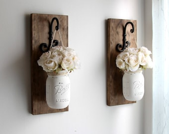 Farmhouse Home Decor - Fall Wall Decor - Rustic Wall Sconces - Decorative Wall Hangings - Pair of  Wall Sconces with Hanging Jars