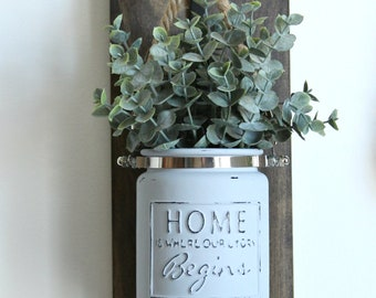 Rustic Sconce-Rustic Home Decor-Wall Sconces-Rustic Wall Decor-Candle Holder-Jar Lantern-Housewarming Gift-Rustic Glass Jar Sconce-Farmhouse