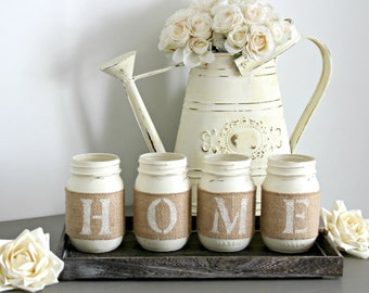 Rustic Home Decor-Rustic Table Centerpieces-Housewarming Gift-Rustic Wooden Tray-Coffee Table Tray-Table Decor-Farmhouse Tray with Jars