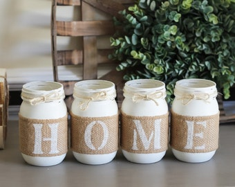 Farmhouse Decor - Painted Mason Jars Set - Everyday Home Decor - Farmhouse Table Decorations - Mother's Day Gift - Housewarming Gift