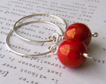 Medium Silver hoop earrings Red earrings Medium Hoop Earrings Handmade earrings Womens Fashion Jewelry