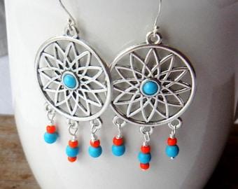 Turquoise blue and orange chandelier earrings, Bohemian, Boho, Gypsy, summery earrings, beachy earrings, Bright earrings, Handmade earrings