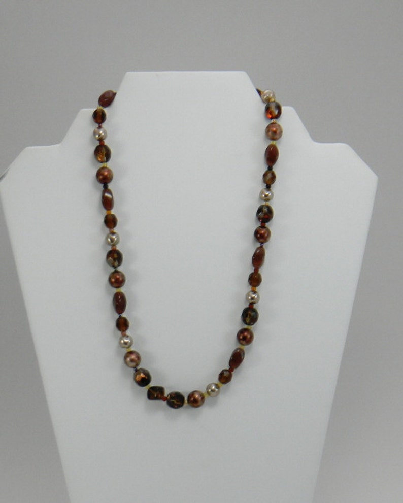 Womens Beaded Necklace Pearl and Glass Necklace Fashion Jewelry Brown Necklace