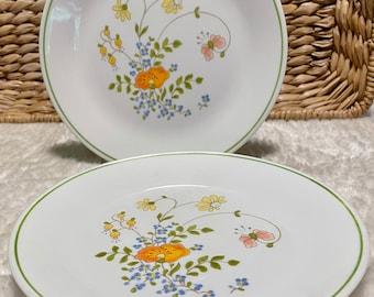 "Set of 2 Vintage '70s Corning Ware Corelle Wildflower 8-1/2"" Dinner Plates"