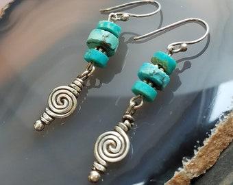 Natural Turquoise Earrings Southwest Inspired Earrings Turquoise Earrings Dangle Earrings Boho Earrings Drop Earrings