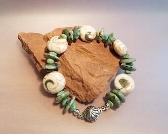 Naga Shell Bracelet, Turquoise Bracelet, Tibetan Conch Shell Bracelet
