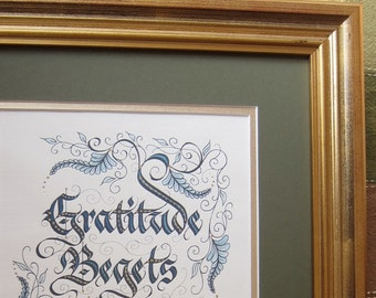 Framed Gratitude Calligraphy Print - 11 by 14 - acid-free framing...hand-painted gold details...a gift of thanksgiving!