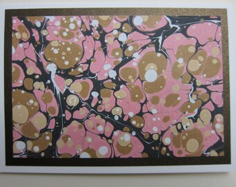 Hand-Marbled Art Card: Stone Pebble pattern