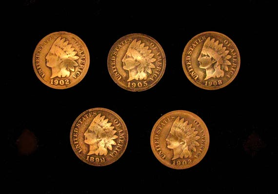 5 Indian Head Penny Loop Back Concho Buttons