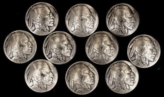 """CONCHOS 5 Real Coin /""""Indian/"""" Nickel post /& screw"""