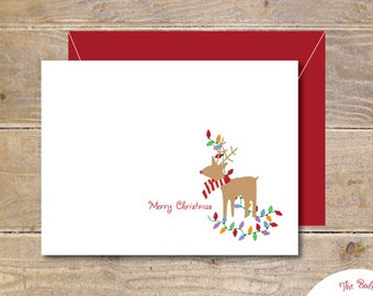 Rudolph, Christmas Cards, Holiday Cards, Christmas Card Set, Reindeer, Chirstmas Lights, Holiday Card Set, Handmade, Reindeer Cards