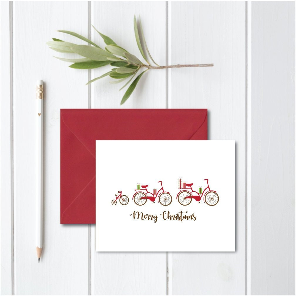 Christmas Cards Bikes Bicycles Holiday Cards Bicycle | Etsy