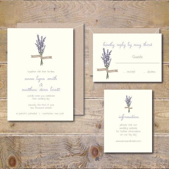 Wedding Invitations Lavendar Flowers Outdoor Weddings Etsy
