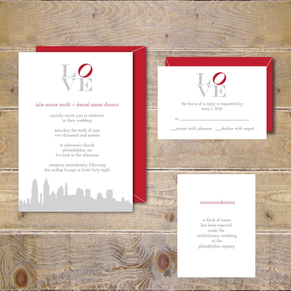 Philadelphia Love Park Philadelphia Love Wedding Invites | Etsy