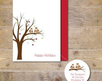 Christmas Cards, Owls, Ornaments, Tree, Holiday Cards, Christmas Card Set, Holiday Card Set, Owl Christmas Cards, Handmade