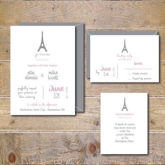 Wedding Invitations Paris Wedding Wedding Invites Eiffel Etsy