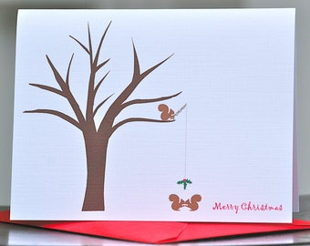 Christmas Cards, Holiday Cards, Christmas Card Sets, Squirrels, Tree, Mistletoe, Holiday Card Set, Nuts, Handmade, Rustic, Happy Holidays