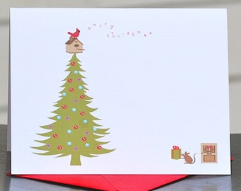 Christmas Cards, Cardinals, Mouse,  Holiday Cards, Chridtmas Tree, Christmas Card Set, Christmas, Holiday, Bird House, Holiday Card Sets