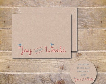 Christmas Cards, Holiday Cards, Happy Holidays, Joy To The World, Christmas Card Sets, Handmade, Birds, Rustic