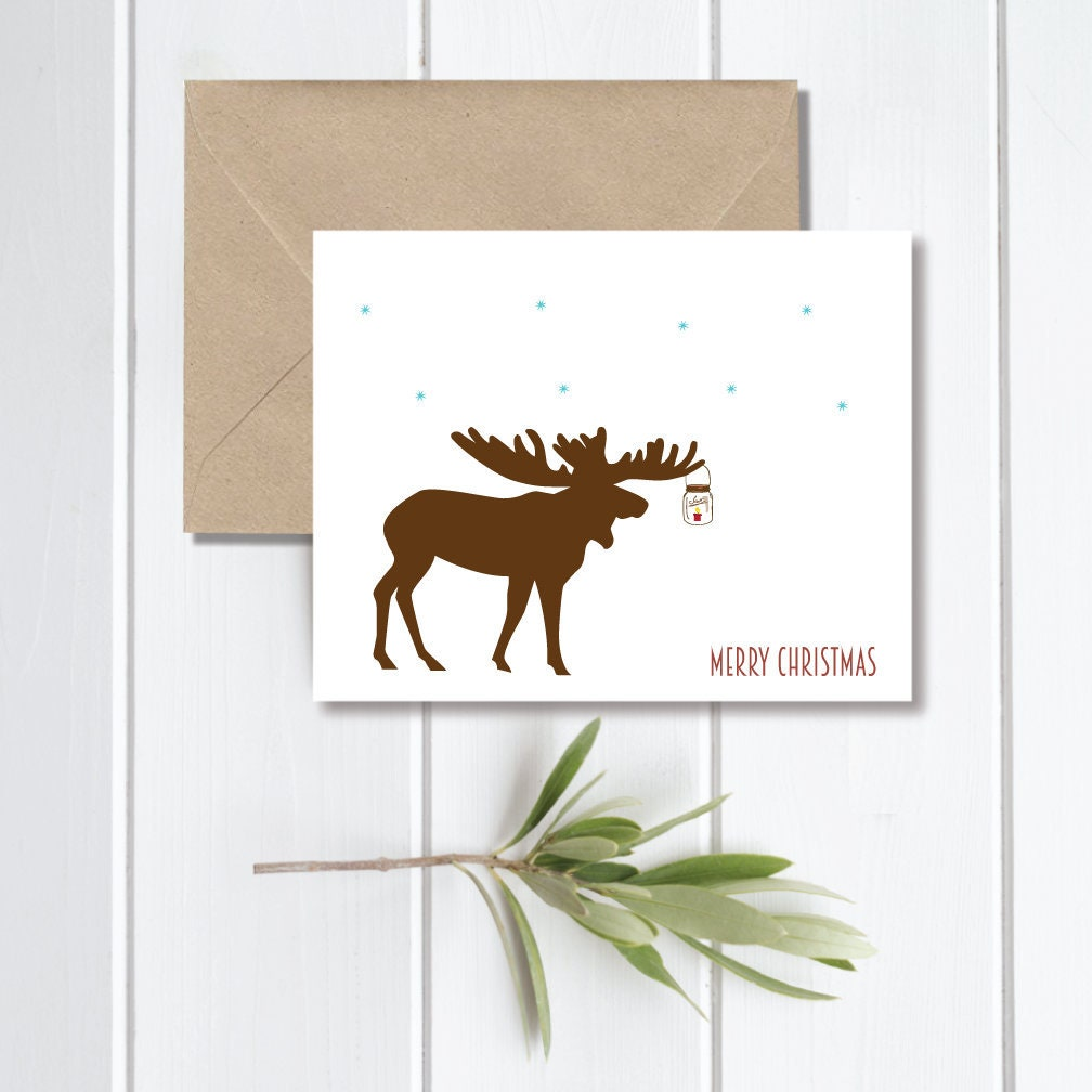 Moose Moose Christmas Cards Christmas Cards Holiday Cards | Etsy
